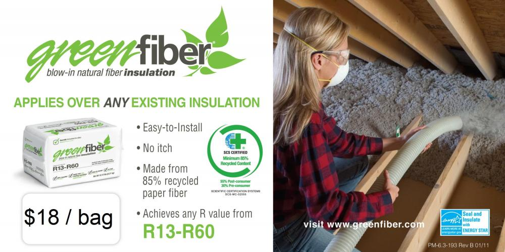 Green Fiber Recycled Cellulose Blown In Insulation