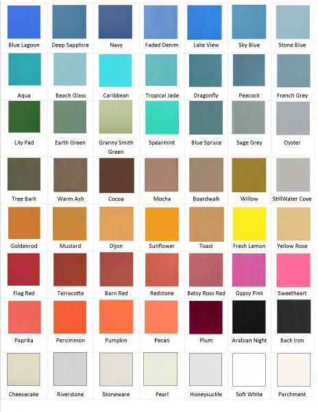 Please Note That This Color Chart Is To Be Used Only Get A General Idea Of What Colors Are Offered Because Computer Monitors Vary So Much The