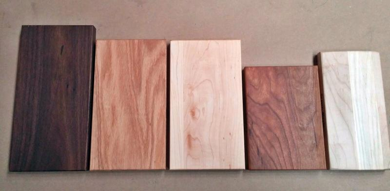 wood samples with linseed finish walnut oak hard maple cherry brown maple
